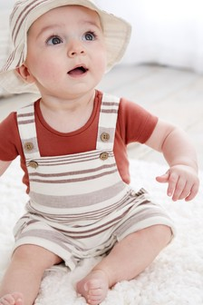 Red Stripe Dungaree and Bodysuit Set (0mths-3yrs)