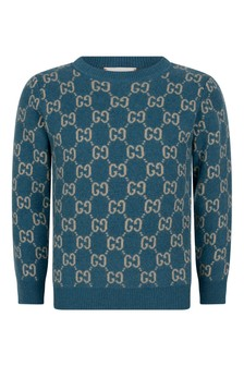 GUCCI Kids Boys Navy Wool GG Jumper