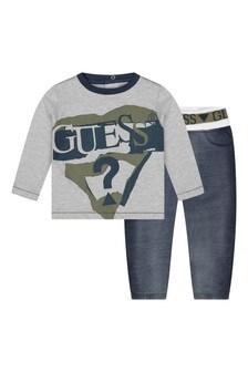 Baby Boys Grey/Blue Cotton Joggers Set