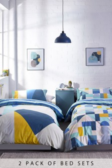 2 Pack Abstract Geo Reversible Duvet Cover and Pillowcase Set