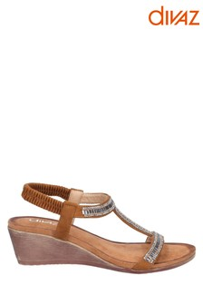Divaz Tan Pearl Elasticated Sandals