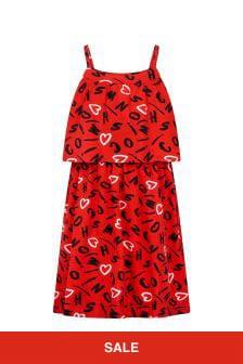 فستان قطن أحمربناتي