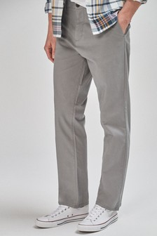 Grey Loose Fit Stretch Chinos