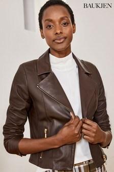 Baukjen Brown Leather Everyday Biker Jacket