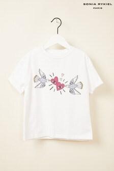 Sonia Rykiel White Graphic Hearts T-Shirt
