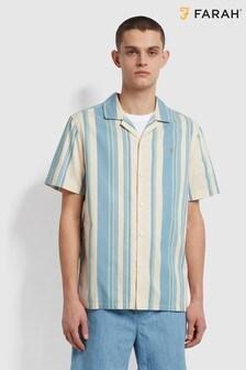 Farah Off White Theroux Stripe Shirt