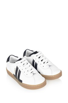 Boys White/Navy Leather Trainers