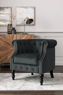 Opulent Velvet Dark Grey Hector Accent Chair With Black Legs