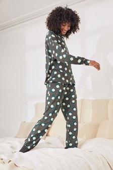Teal Spot Cotton Blend Pyjamas