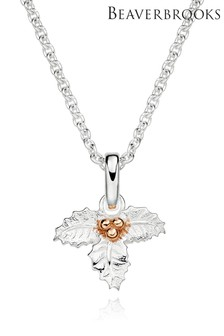 Beaverbrooks Sterling Silver And Rose Gold Plated Holly Pendant