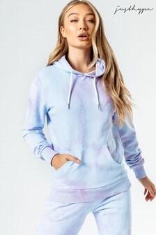 Hype. Womens Blue Pink Tie Dye Pullover Hoody