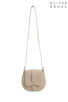 Oliver Bonas Cream Nova Studded Saddle Cross-Body Bag