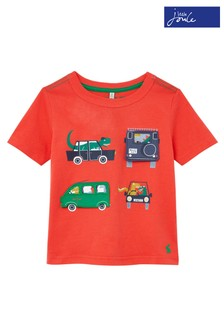 Joules Red Vehicles Chomp Applique T-Shirt