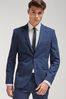 Bright Blue Super Skinny Fit Check Suit: Jacket