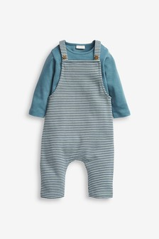 Blue Stripe Dungaree and Bodysuit (0mths-3yrs)