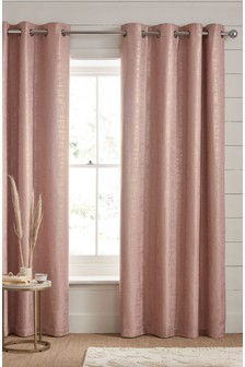 Metallic Woven Geo Eyelet Lined Curtains