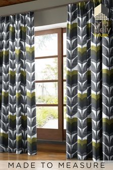 Rose Bud Moss Green Made To Measure Curtains by Orla Kiely