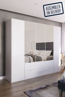 White Glass Monroe Five Door Combination Wardrobe With Mirror