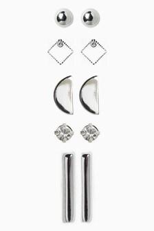 Silver Tone Stud Earrings Pack