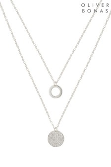 Oliver Bonas Silver Disc Double Row Necklace