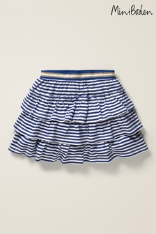 Mini Boden Blue Jersey Ruffle Skirt
