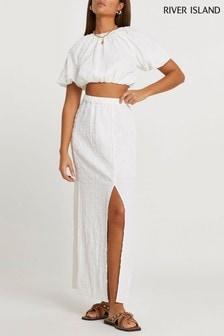 River Island White Aline Floral Maxi Skirt