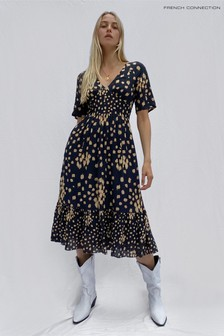 French Connection Black Geriel Printed Midi Tea Dress