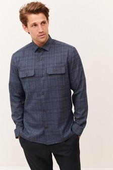Navy Check Button Up Shacket