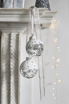 Set of 2 Snowy Star Baubles