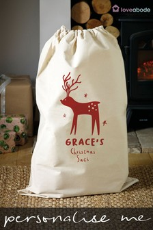 Personalised Reindeer Christmas Sack by Loveabode