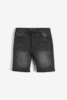 Black Jersey Denim Shorts (3-16yrs)