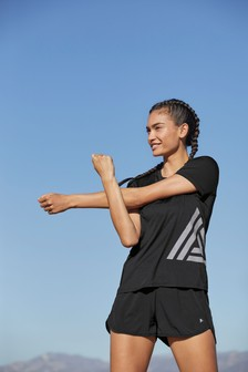 Black Logo Short Sleeve Sports T-Shirt