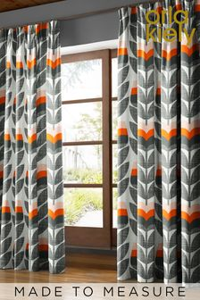 Rose Bud Orange Made To Measure Curtains by Orla Kiely