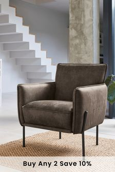 Monza Faux Leather Dark Brown Easton Accent Chair With Black Legs