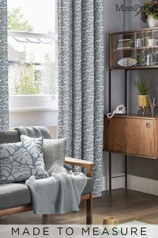 Saplings Graphite Black Made To Measure Curtains by MissPrint
