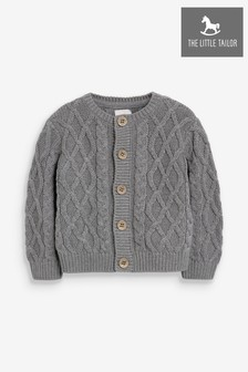 The Little Tailor Charcoal Grey Cable Knit Baby Cardigan
