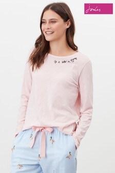 Joules Pink Otilie Long Sleeve Night Top