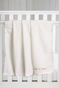 White Cellular Knitted Blanket (Newborn)