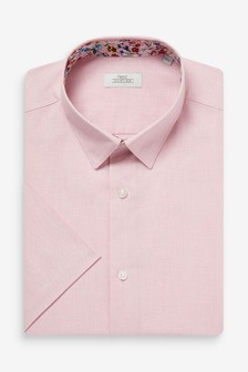 Lilac Slim Fit Short Sleeve Cotton Linen Floral Trim Shirt