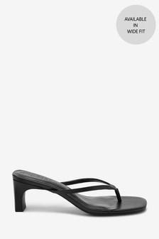Black Heeled Toe Post Sandals