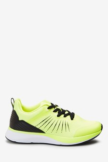 Fluro Yellow Elastic Lace Trainers (Older)