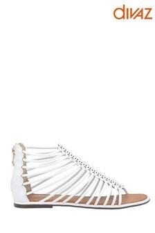 Divaz White Gemma Gladiator Zip Sandals