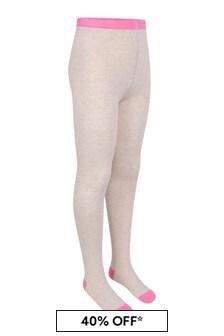 Girls Beige Marl Cotton Logo Tights