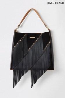 River Island Black Fringe Slouch Bag