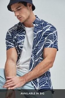 Navy Slim Fit Leaf Print Shirt