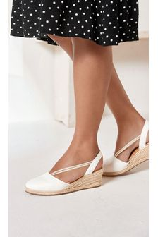 White Closed Toe Espadrille Low Wedge Sandals
