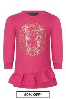 Versace Baby Girls Fuchsia Cotton Logo Dress