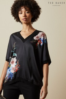 Ted Baker Black Sophiey Jamboree Printed Woven Front Knit Jumper