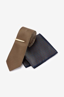 Sand Tie With Geometric Pocket Square Set