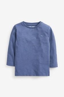 Mid Blue Long Sleeve Plain T-Shirt (3mths-7yrs)